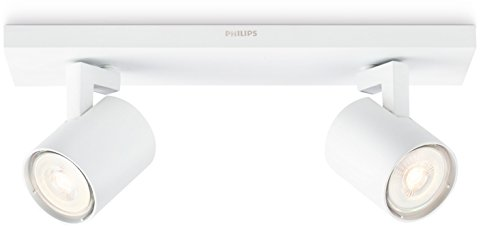 Philips myLiving Runner - Foco doble de interior LED, blanco, en metal,...