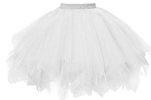 MuseverBrand 50er Vintage Ballet Blase Firt Tulle Petticoat Puffy Tutu White Small/Medium