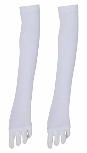 Kuber Industries Cotton Gloves, Arm Sleeves Gloves, Sun Protective Full Hand Gloves 1 Pair- White (KI01111)  available at amazon for Rs.229