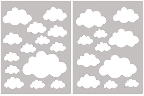 PREMYO 25 Wolken Wandsticker Kinderzimmer Mädchen Jungen - Wandtattoo Babyzimmer - Wandaufkleber Selbstklebend Weiß