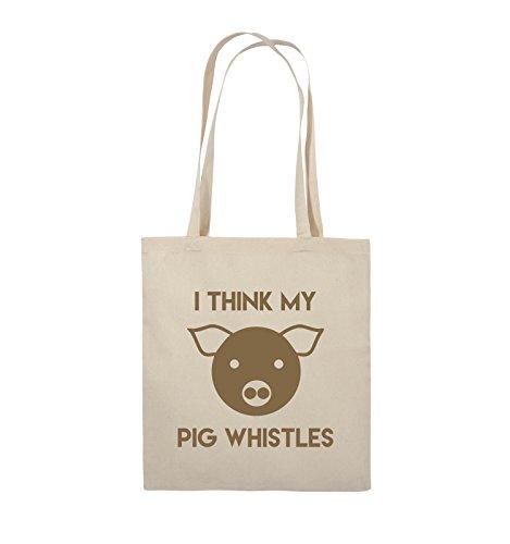 Comedy Bags - I THINK MY PIG WHISTLES - Jutebeutel - lange Henkel - 38x42cm - Farbe: Schwarz / Pink Natural / Hellbraun