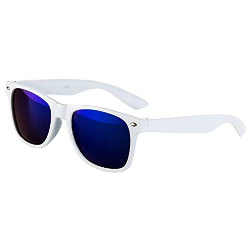 Ciffre EL-Sunprotect Nerdbrille Brille Nerd Sonnenbrille Hornbrille Weiß Blau
