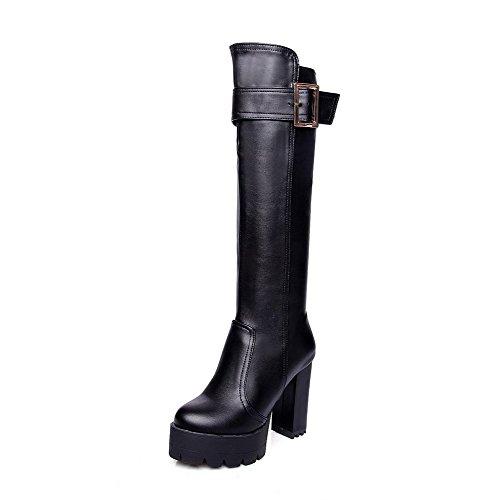 AgooLar Damen Reißverschluss Hoher Absatz Artifizielles Büffelleder Mitte-Spitze Stiefel, Schwarz, 43