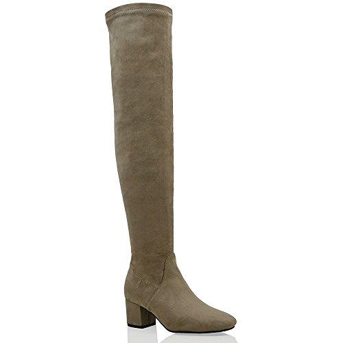 Essex glam stivale donna marrone finto scamosciato sopra al ginocchio tacco a blocco stretch eu 37