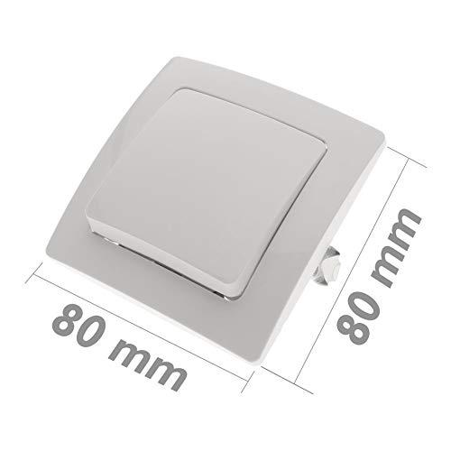 BeMatik - Interruptor de cruzamiento empotrable con marco 80x80mm serie Lille de...