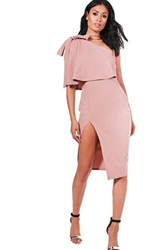 YourPrimeOutlet Rose Womens Cece Bow Shoulder Detail Midi Dress