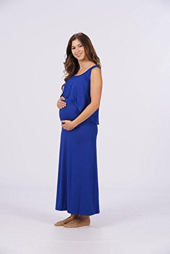 12babyline Umstandskleid Langes Kleid, 2Teilig mit Top, viel Platz für den wachsenden Bauch Royal