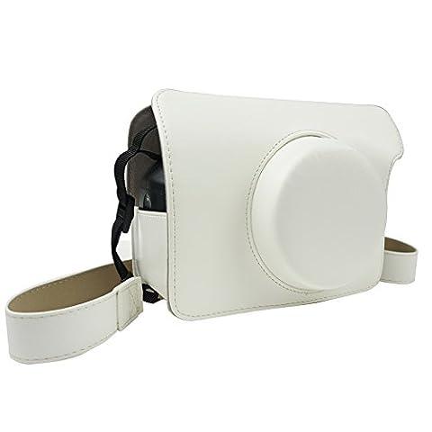 Alohallo Instax Wide 300 étui en cuir PU avec sangle d'épaule pour Fujifilm Instax Wide 300 Instant Film Camera - Blanc