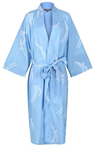Susannah Cotton DESIGNER Morgenmantel, Premium BIO Baumwolle Frauen Mädchen Damen Bademantel, Trendfarbe BLAU mit SCHWALBEN Printmuster, Kimono Hausmantel 100{f933ddb19ac9ea40e8709c7abf7f0d409627a000cd18ed01e6fc2f6dd2db087f} soft, leicht, lang Sleepwear