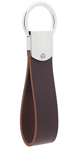 Llavero de Cuero, Llavero de Cuero Italiano DPOB - Diseño Simple - Hecho de Cuero Duradero de Primera Calidad (Brown)
