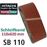 Hitachi-753284-Papier abrasif pour Ponceuse à bande 110 x 620 mm Grain 100 5 (vous)