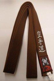 Braungurt bestickt mit Karate-Do (Bestickung in silber) Karategürtel braun bestickter Karategurt