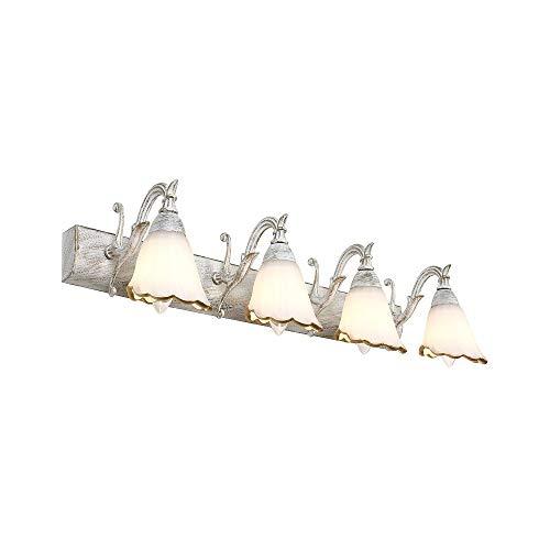 Gemischter Körper-typen (HTL Spiegel Scheinwerfer-europäischen Garten Stil Metall Lampe Körper Glas Lampenschirm E14 Spiegel Frontleuchte Badezimmer Wandleuchte,Weiß gemischt mit Gold-Vierkopf)