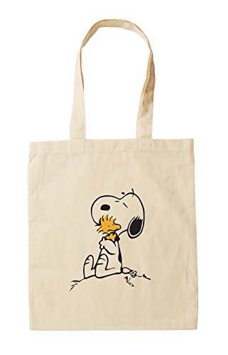 Snoopy and Woodstock Hugging, Natural Cotton Snoopy Tote Bag. Lovely for Valentines - Reusable Shopping Bag