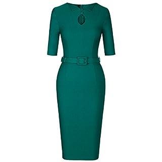 MUXXN Women's Audrey Hepburn 1960s Half Sleeve Belt Formal Work Dress -  Green -