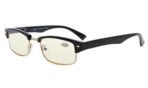 Eyekepper Spring Scharnier Classic Computer Lesung Brillen Leser Brillen Metall mit Kunststoff umrandet (Gelbe Linse, 0.75)
