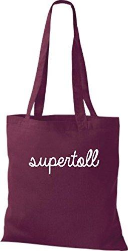 ShirtInStyle Stoffbeutel, Baumwolltasche, Shopper lustiger Typo Spruch supertoll weinrot