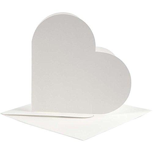 Preisvergleich Produktbild Karten in Herzform, Kartengröße 12,5x12,5 cm, Umschlaggröße 13,5x13,5 cm, off-white, 10Sets