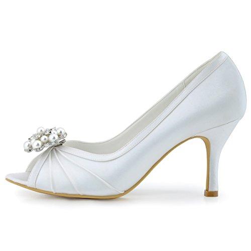 ElegantPark EP2094AE Donna Peep Toe AE01 Asportabile Clips Per Scarpe Tacco Alto Perle Fibbia Raso Scarpe Da Sposa Bianco