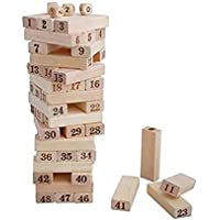 Fusine 54 Pcs Blocks 4 Dices Wooden Numbered Building Bricks Stacking Traditional Toppling Tumbling Tower Game Kid Gift…