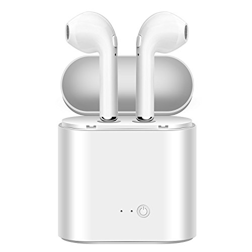 Cover Crafts i7s Wireless Bluetooth Earphone Headset 4.2 Airpod with Mic Compatible with (Android, iOS, Tablet, Computer, Windows and All Latest Smartphones) White Color