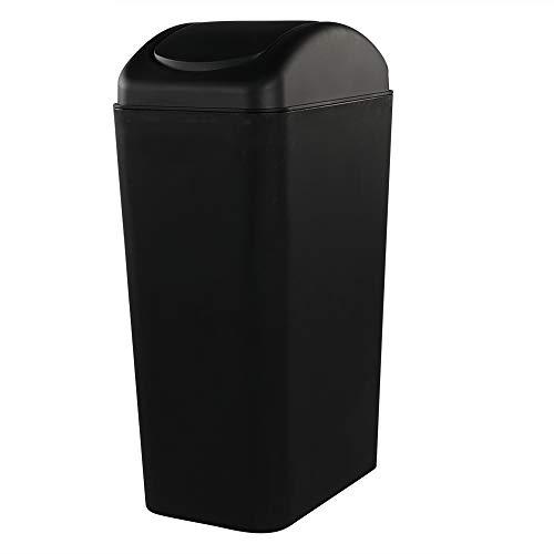 Rinboat 14 L Cubo de Basura Basurero Papelera de Plástico para Oficina o Cocina, Color Negro, 1 Paquete...