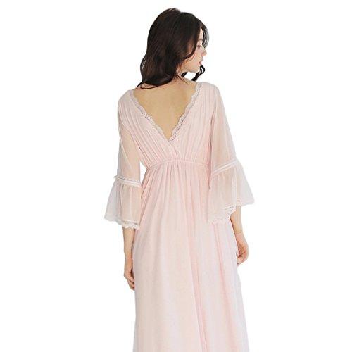 Primavera e estate filato netto V-collo abito da notte lungo a maniche lunghe ( Colore : Rosa , dimensioni : L. ) Rosa