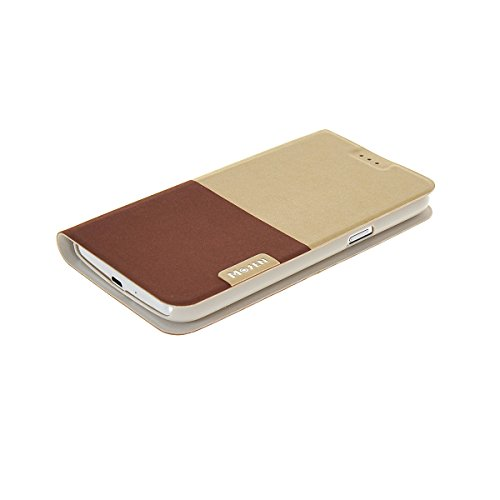 MOONCASE Coque en Cuir Housse de Protection Étui à rabat Case pour Apple iPhone 6 Plus Blanc Doré Doré Brun