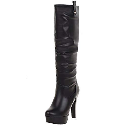 AIYOUMEI Damen Kniehohe Stiefel mit Plateau und 12cm Absatz Blockabsatz Hohe Winter Warm Stiefel Schuhe - Stiefel Schwarze Wildleder Warm Kniehohe