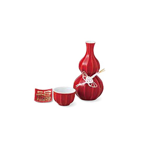 TOKYO MATCHA SELECTION - Sake Bottle & Cup Set - Kotobuki Fortune Red - Japanese Arita-yaki porcelain w box for sake wine [Standard ship by Int'l e-packet: with Tracking & Insurance] - Kotobuki-cup