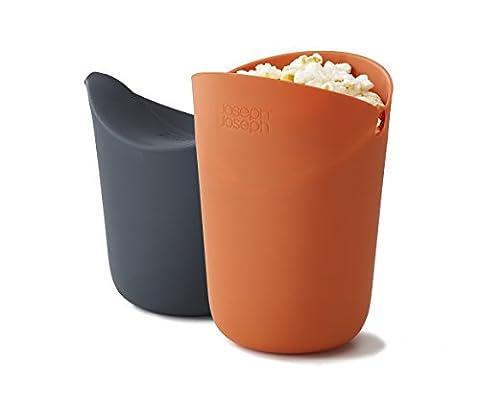 Joseph Joseph 45018 M-Cuisine Portionsgefäß für die Herstellung von Popcorn in der Mikrowelle, 2er Pack, Silikon, orange/grau, 10.19 x 10.19 x 14.5 cm, 2 Einheiten