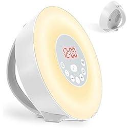 Coulax Wake Up Licht Lichtwecker Tageslichtwecker Wecker, 6 Natural Sounds, 7 Auto Farben,10 Dimmstufen, FM Radio Digitaluhr mit Licht, Intelligente Sonnenaufgang Simulator, Touchscreen Nachtlicht