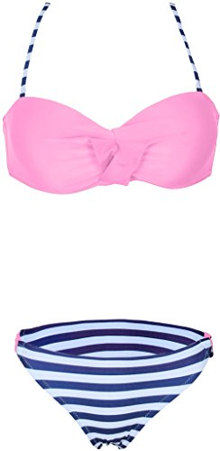 Damen Retro Push Up Bikini Set Figurformender Zweiteiliger Badeanzug Rosa-Streifen