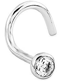 Amor Damen-Nasenstecker 925 Sterling Silber Hakenverschluss Zirkonia weiß 89104