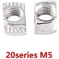 100 Stk Serie EU20 Nutenstein Nutensteine Hammerkopf Befestigungsmuttern Kohlenstoffstahl vernickelt M3 M4 M5 Aluminiumprofile Extrusionsschlitz