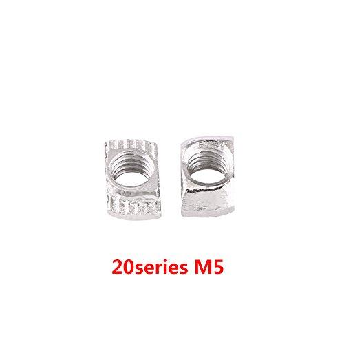50pcs T-Nut Hammer Kopf Mutter M4, M5, M6, M8 verzinkt Silber Kohlenstoff Stahl Fastener Aluminiumprofil Extrusionsschlitz Europäische Norm(EU20-M5*10*6) (M4 Typ)