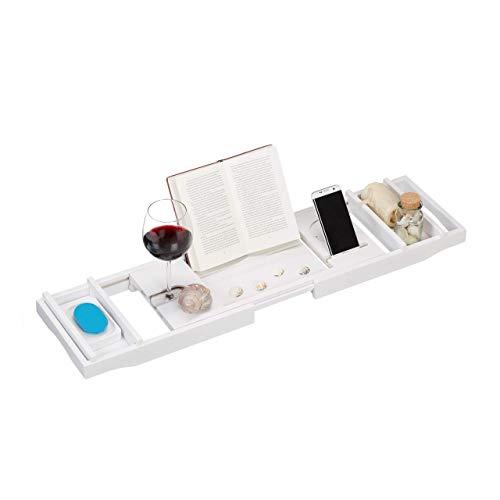 Relaxdays mensola per vasca da bagno in bambù, allungabile, calice, fermalibri, porta-saponetta, 75-109 cm, bianco, 6 x 109 x 23 cm