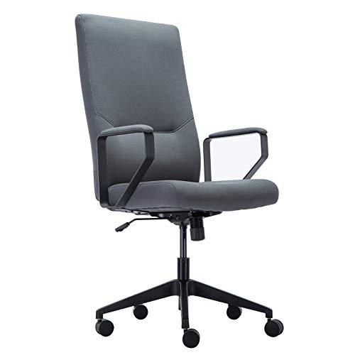 Amoiu Chefsessel, ergonomischer Bürostuhl, Schreibtischstuhl mit hoher Rückenlehne aus Leinen, Grau
