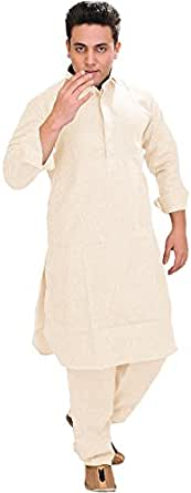 Exotic India Men's Plain Pathani Kurta Salwar with Thread Embroidery on Neck - Color Powder PuffGarment Size 36