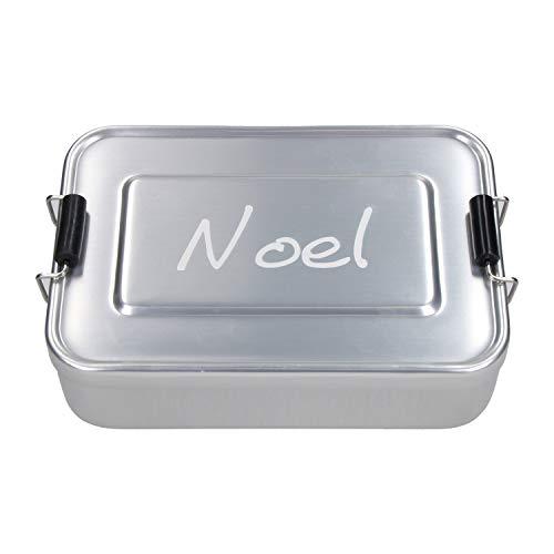 elasto Personalisierte Vesperbox mit Gravur | BPA-Freie Brotdose mit Namen 17 x 12 x 5 cm Brotzeitbox Metall für Kinder und Erwachsene | Tolles Geschenk für Schule, Kindergarten Arbeit | (Silber)