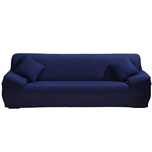 Chenille Kinder-stühle (Stretch Sofa Cover - Sofa Covers Slipcover Sofa - 1-Stück 5 Seater Möbel Protector Polyester Spandex Stoff Schonbezug mit einem Kissenbezug für Kinder und Haustiere Blau)
