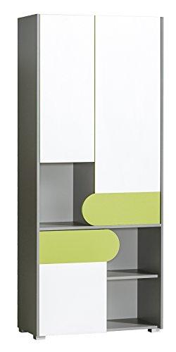 SMARTBett Armadio Futuro con 3 Ante, Colore: Verde/Bianco Brillante/Antracite