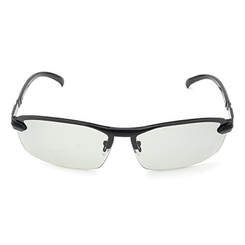 alamor UV400polarisiert photochrom Sonnenbrille Herren Driving Übergang Linse grau schwarz - Schwarz