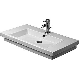 Lavabos de Duravit 2nd Floor de ancho y 80 cm de mano 1 gallo de agujero, de colour blanco 491800027, 491800027