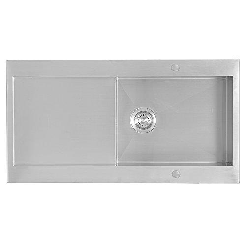 Enki-lavello da cucina in acciaio INOX 1vasche, rettangolare, inserto Drainboard