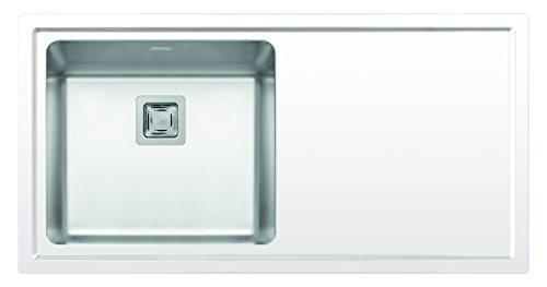 Pyramis 109506730 NIVEL (100X51) 1B 1D LH Einbauspüle + Flächenbündig, Weisses Glas, Edelstahlbecken