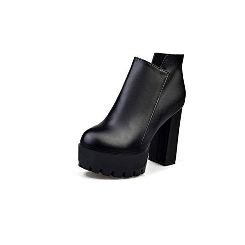 autunno stivaletti ladies/Moda sexy in stile inglese spessa con gli stivali di Martin/ a punta tacchi alti stivali-A Longitud del pie=22.3CM(8.8Inch)
