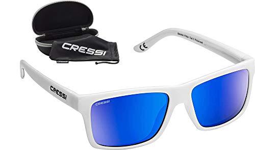 Cressi Unisex- Erwachsene Bahia Sunglasses Sport Sonnenbrillen, Weiß/Spiegel Linse Blau, One Size