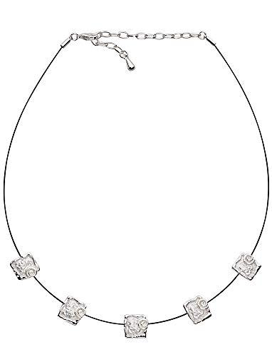 Perlkönig Collier Kette Halskette | Damen Frauen | Silber Farben | 5 Quadrate mit Kreisen | Verstellbar | Nickelfrei