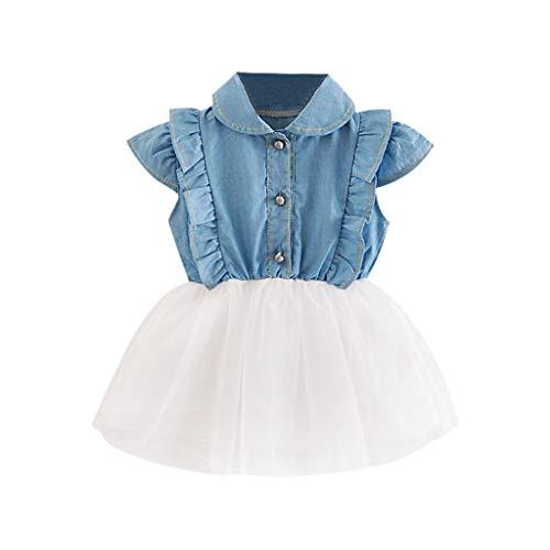 KIMODO Kleinkind Baby Mädchen Kleid Denim Cowboy Kleider Tüll Tütü Urlaub Prinzessin Ärmellos Sommerkleid Outfit ()